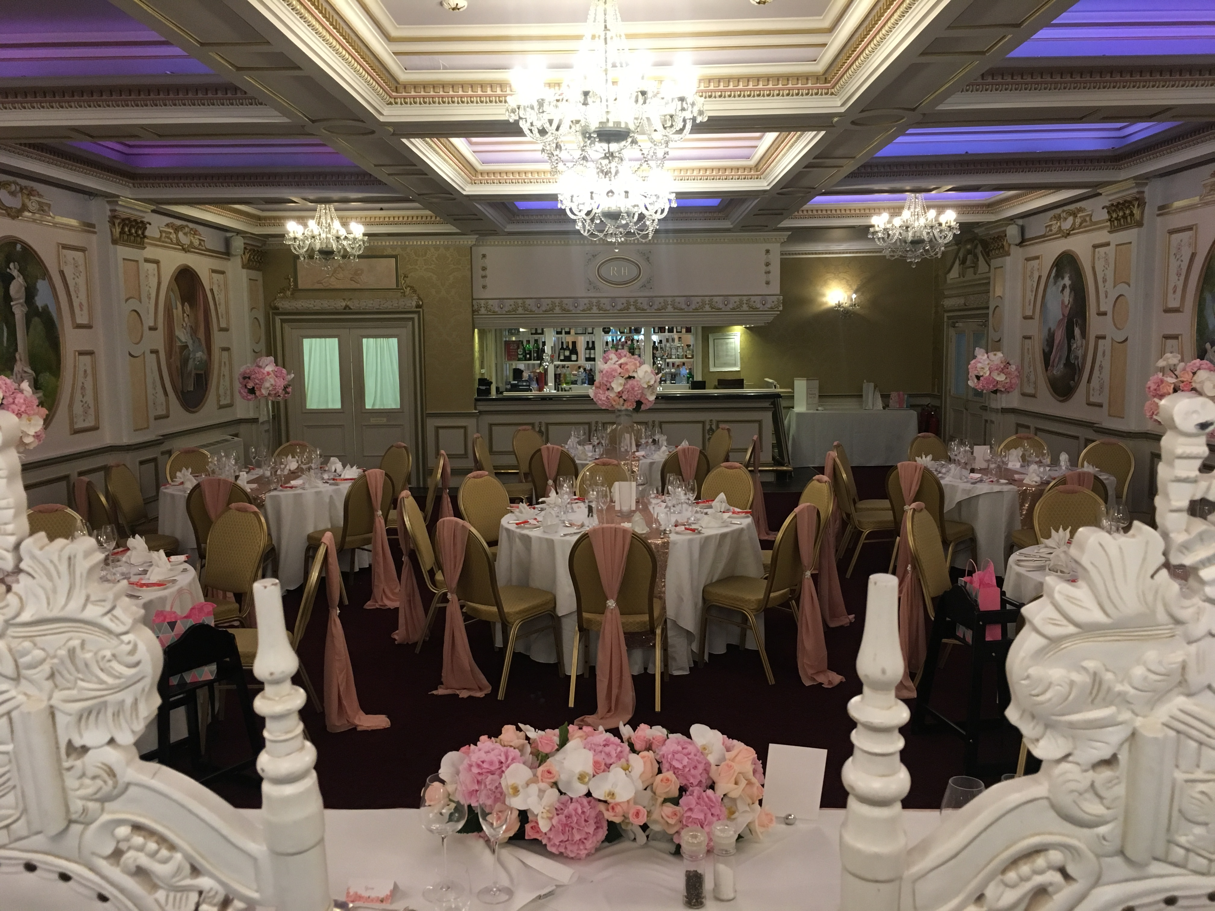 Rose Gold Pink with Throne Chairs wedding at Rossington Hall Sophia's Final Touch - Venue Styling - Weddings