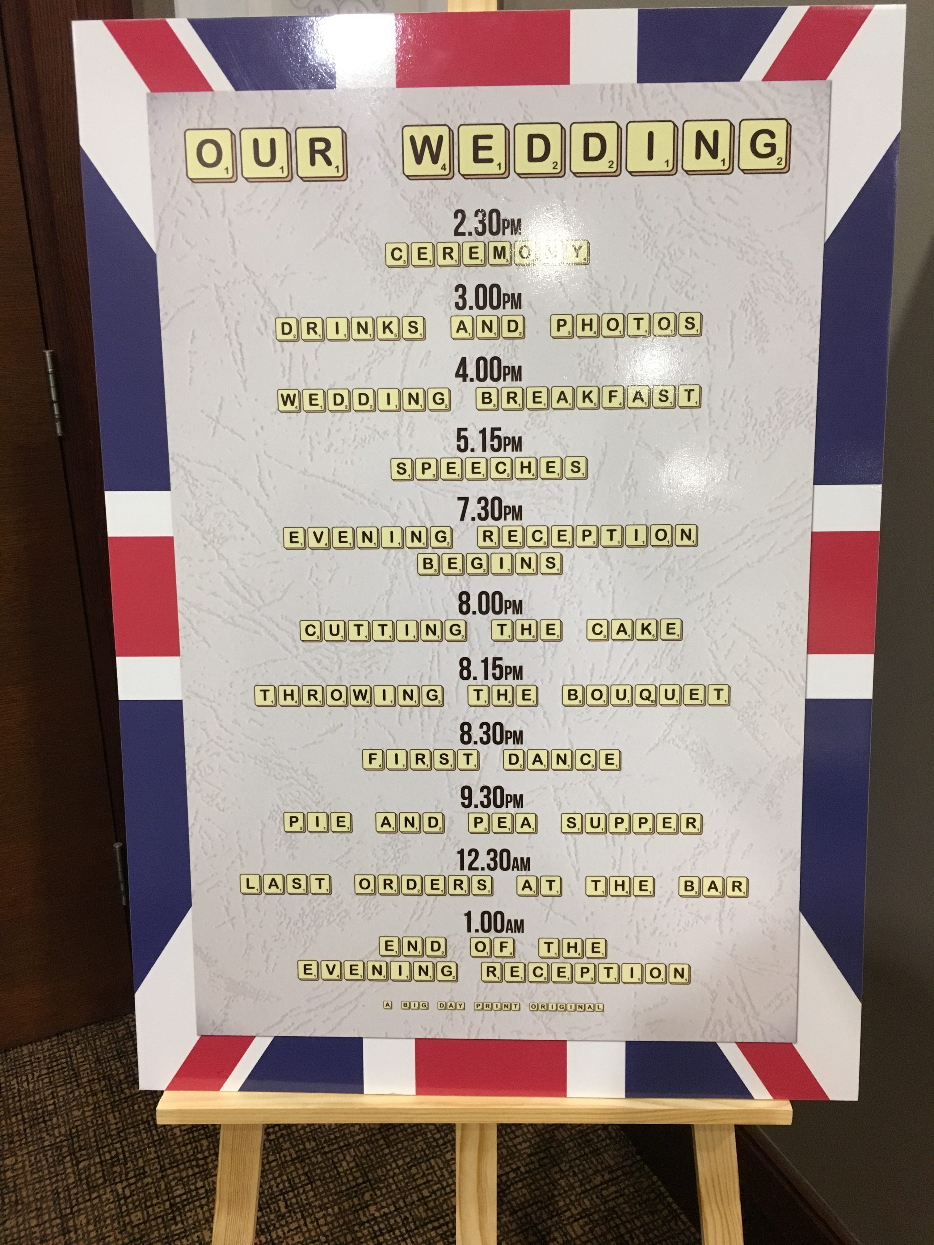 Best Of British Order of the day Big Day Print Sophia's Final Touch - Venue Styling - Weddings