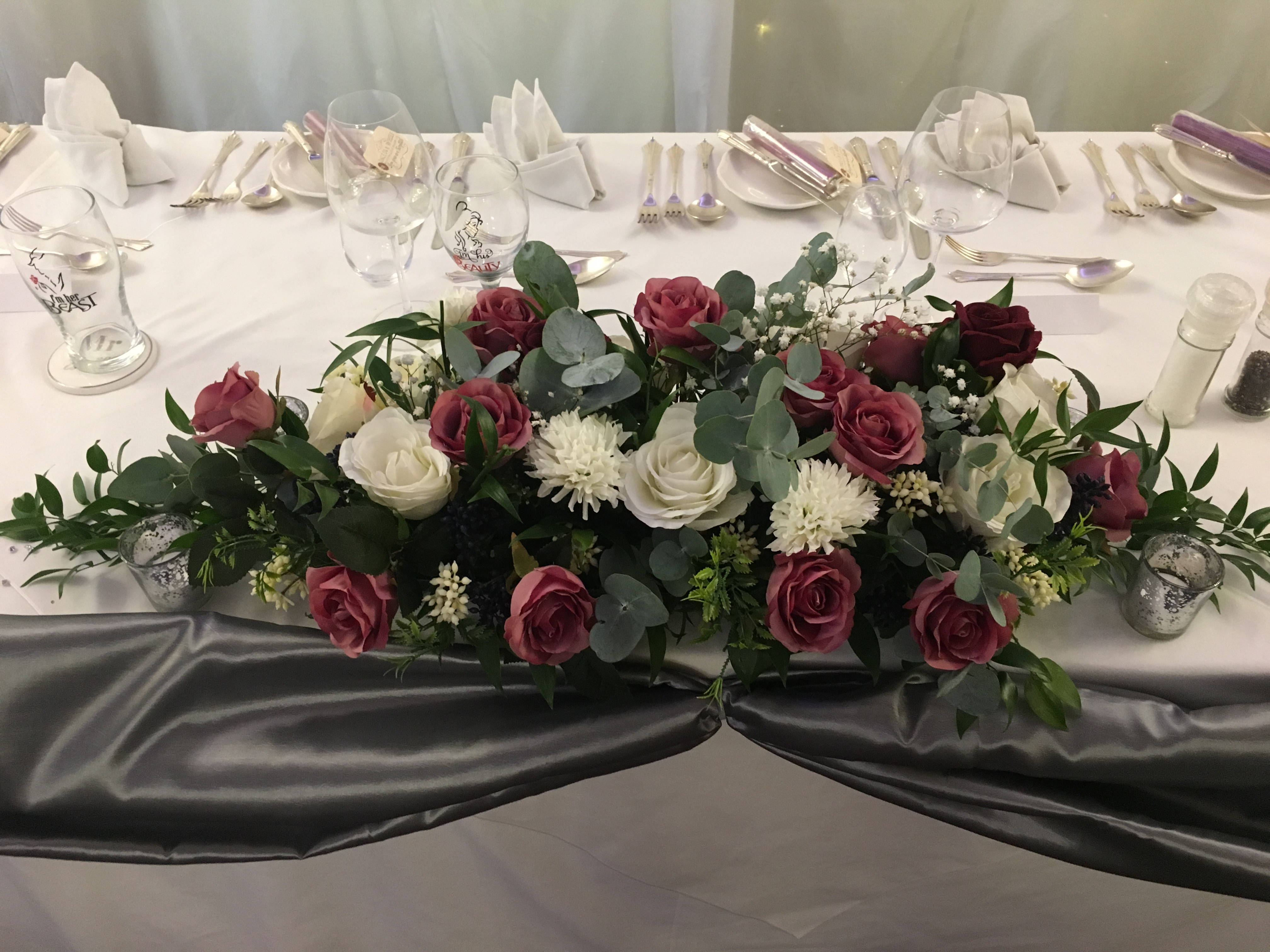 Burgundy Silk Top Table Floral Piece Sophia's Final Touch - Venue Styling - Weddings