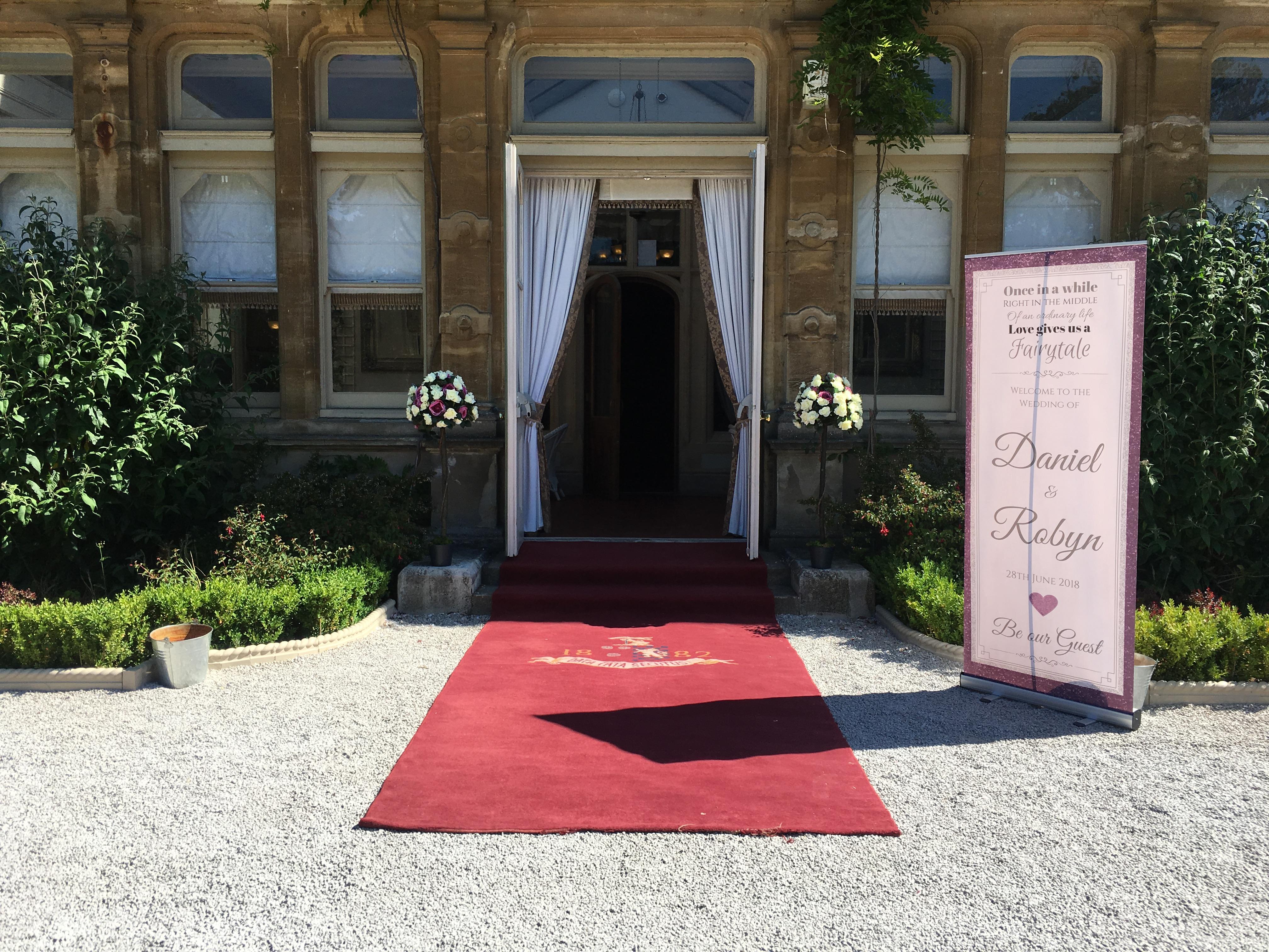 Cream & Burgundy Bay TreesSophia's Final Touch - Venue Styling - Weddings