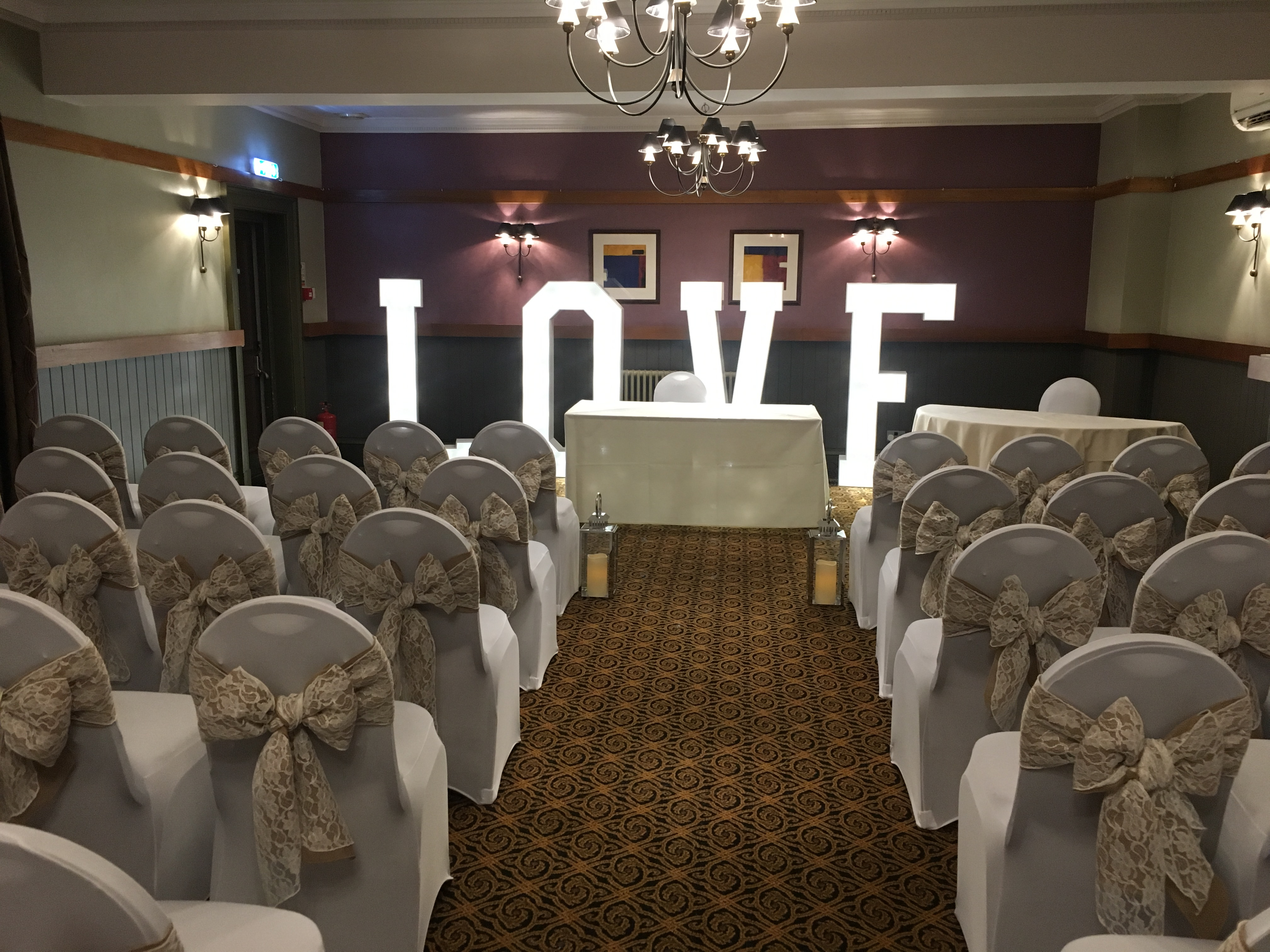 Cream Lanterns with LOVE at The Crown Hotel Sophia's Final Touch - Venue Styling - Weddings