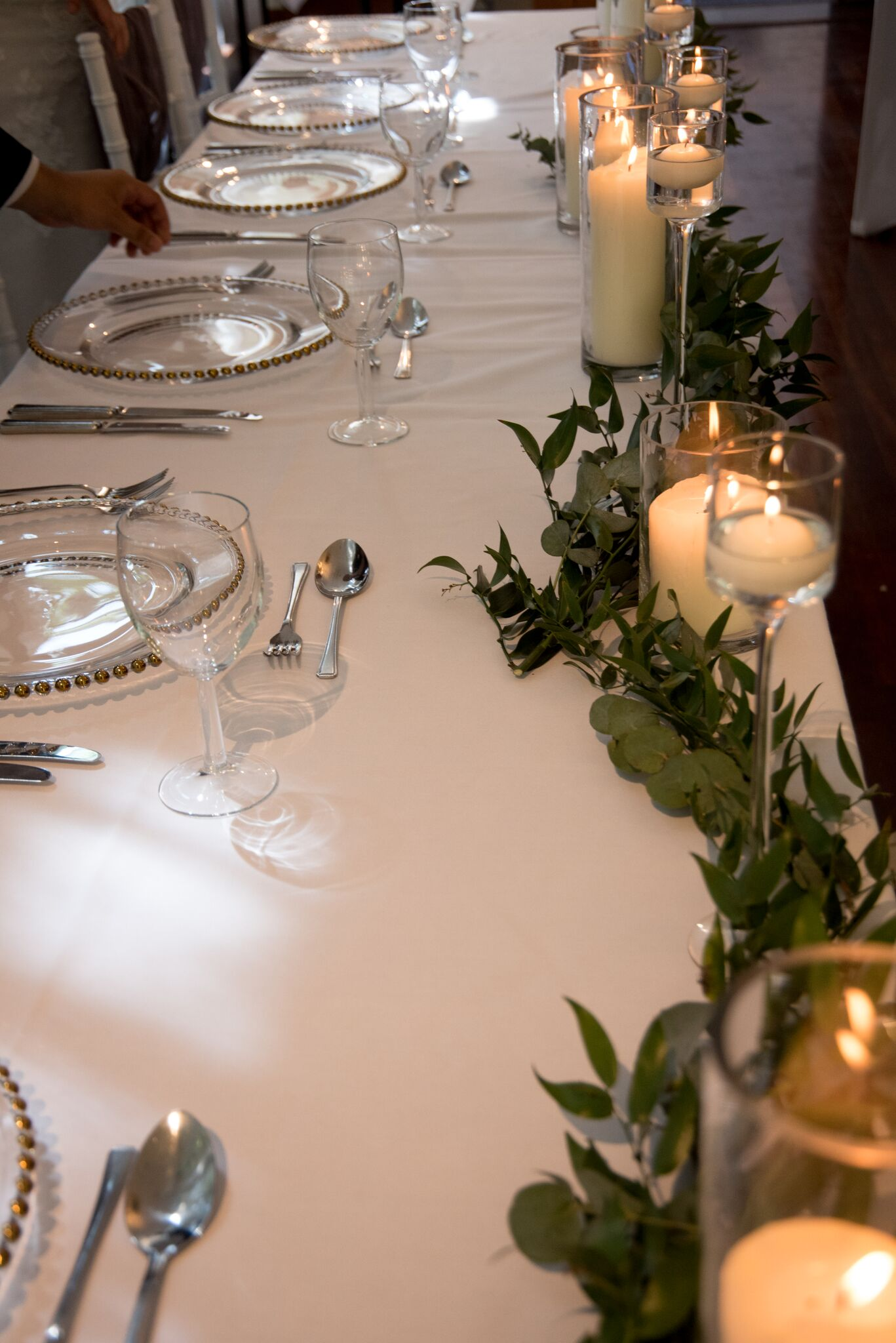 Cylinders with Greenery - Photography - Adele Drummond Sophia's Final Touch - Venue Styling - Weddings