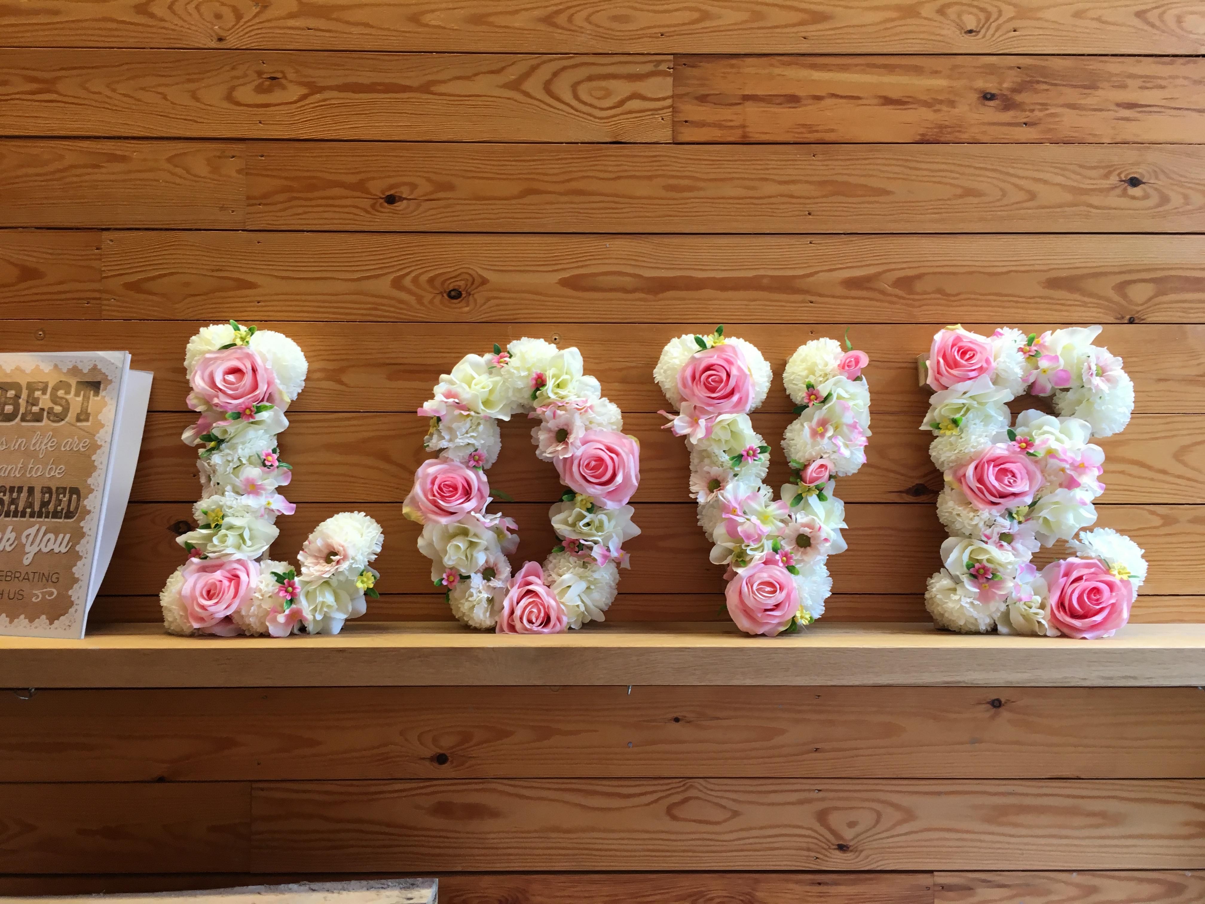 Flower LOVE letters Sophia's Final Touch - Venue Styling - Weddings