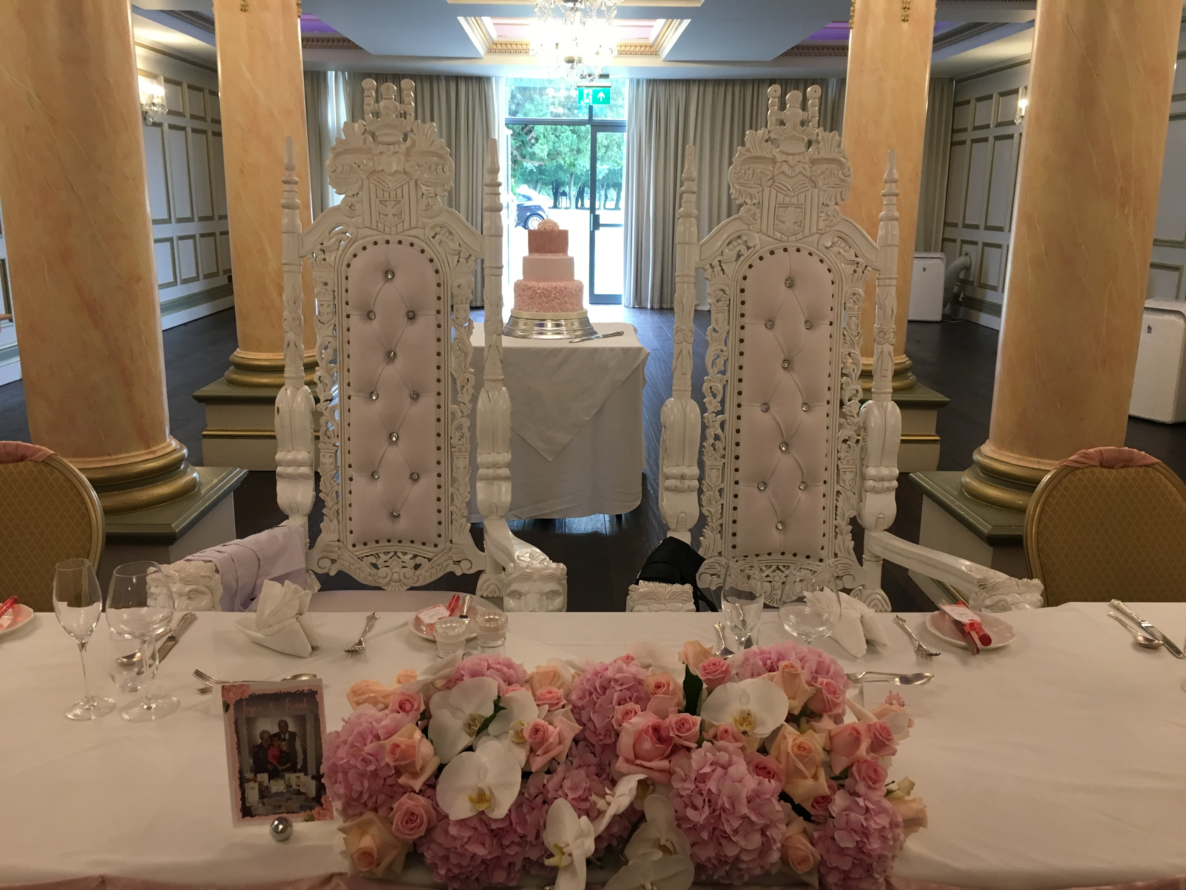Giant Cream Throne Chairs Sophia's Final Touch - Venue Styling - Weddings