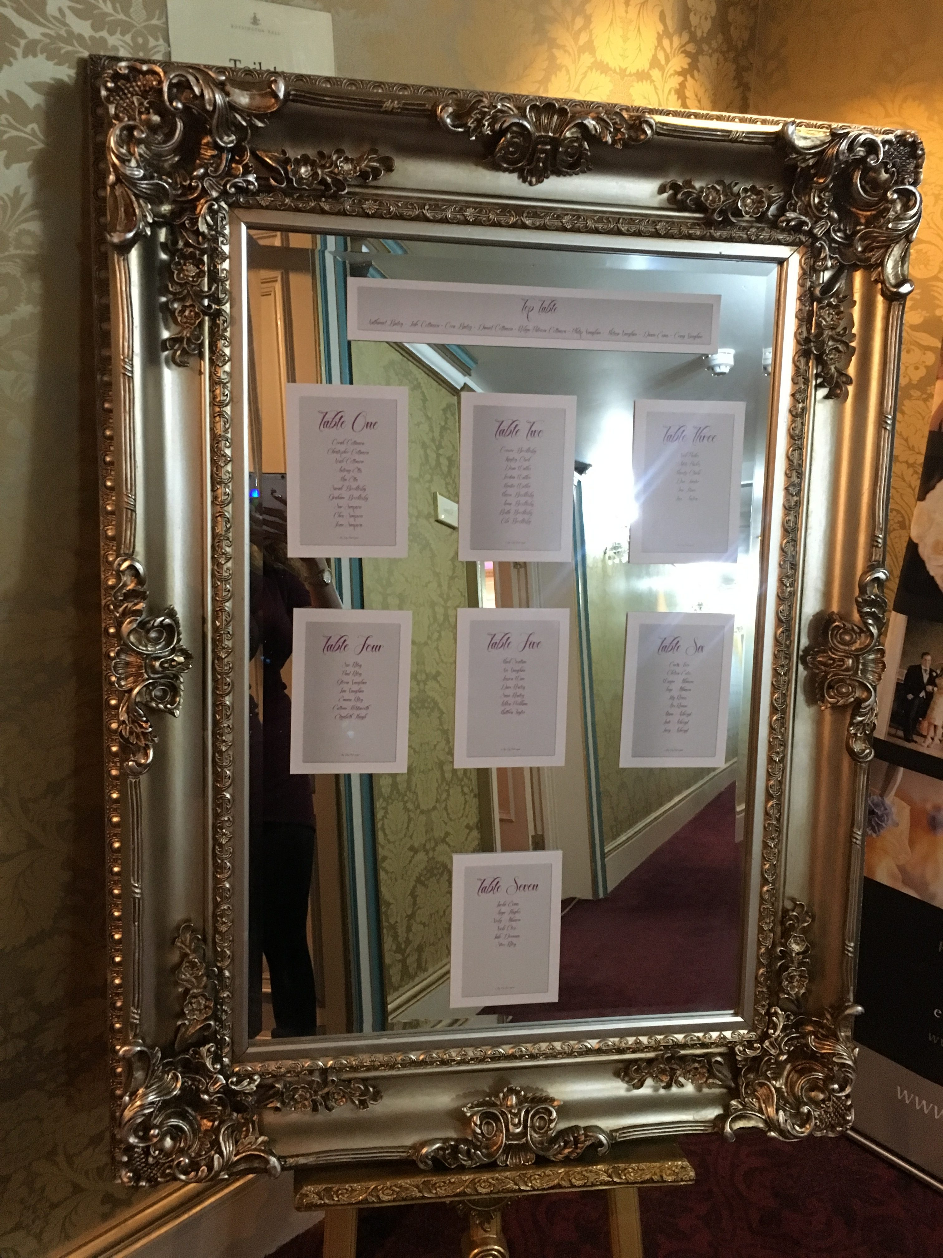 Grey & Purple Table Plan on Mirror Sophia's Final Touch - Venue Styling - Weddings