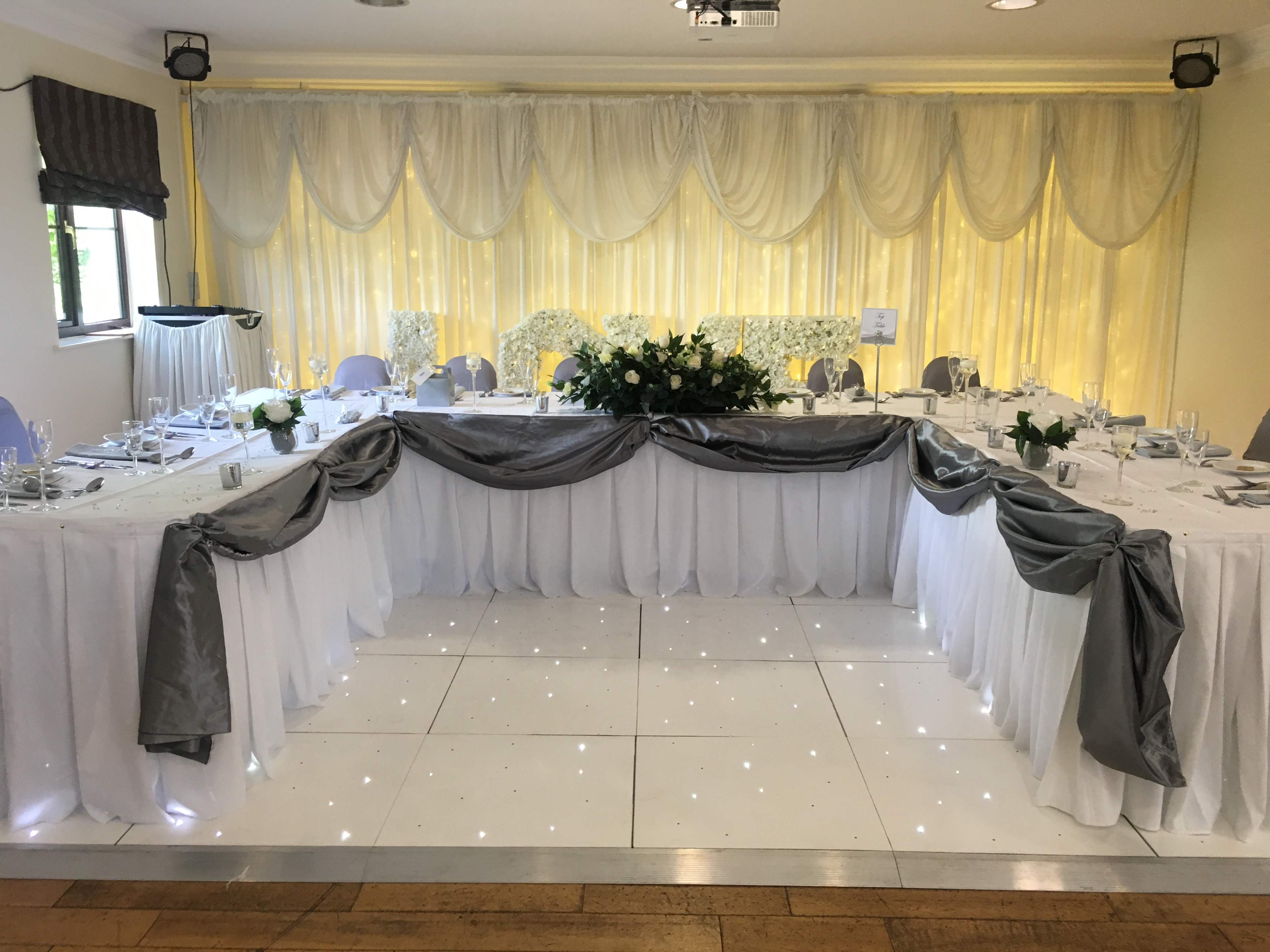 Grey Satin Top Table Swag & Decor - Thornhurst Manor Sophia's Final Touch - Venue Styling - Weddings