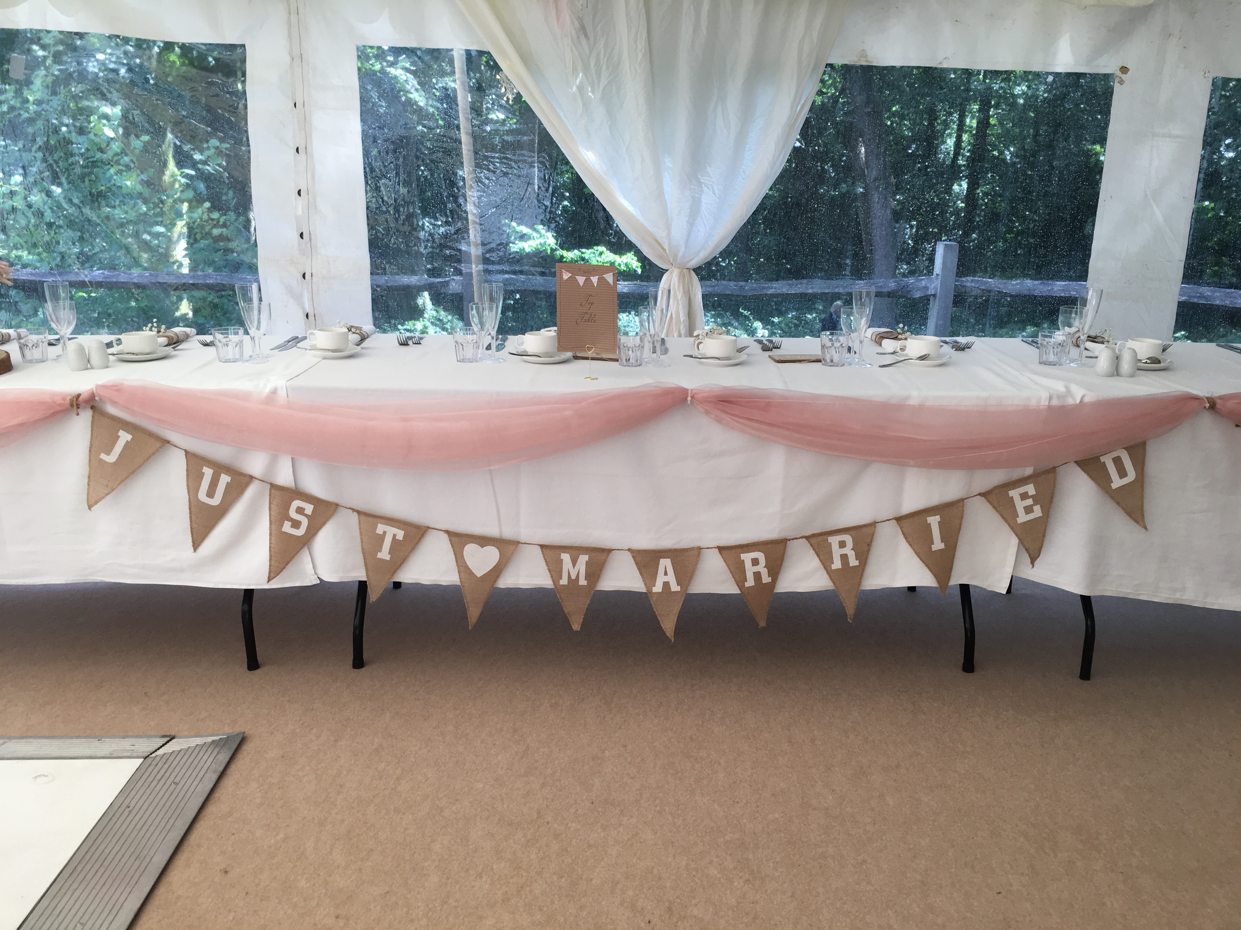 Just Married Top Table Bunting Sophia's Final Touch - Venue Styling - Weddings