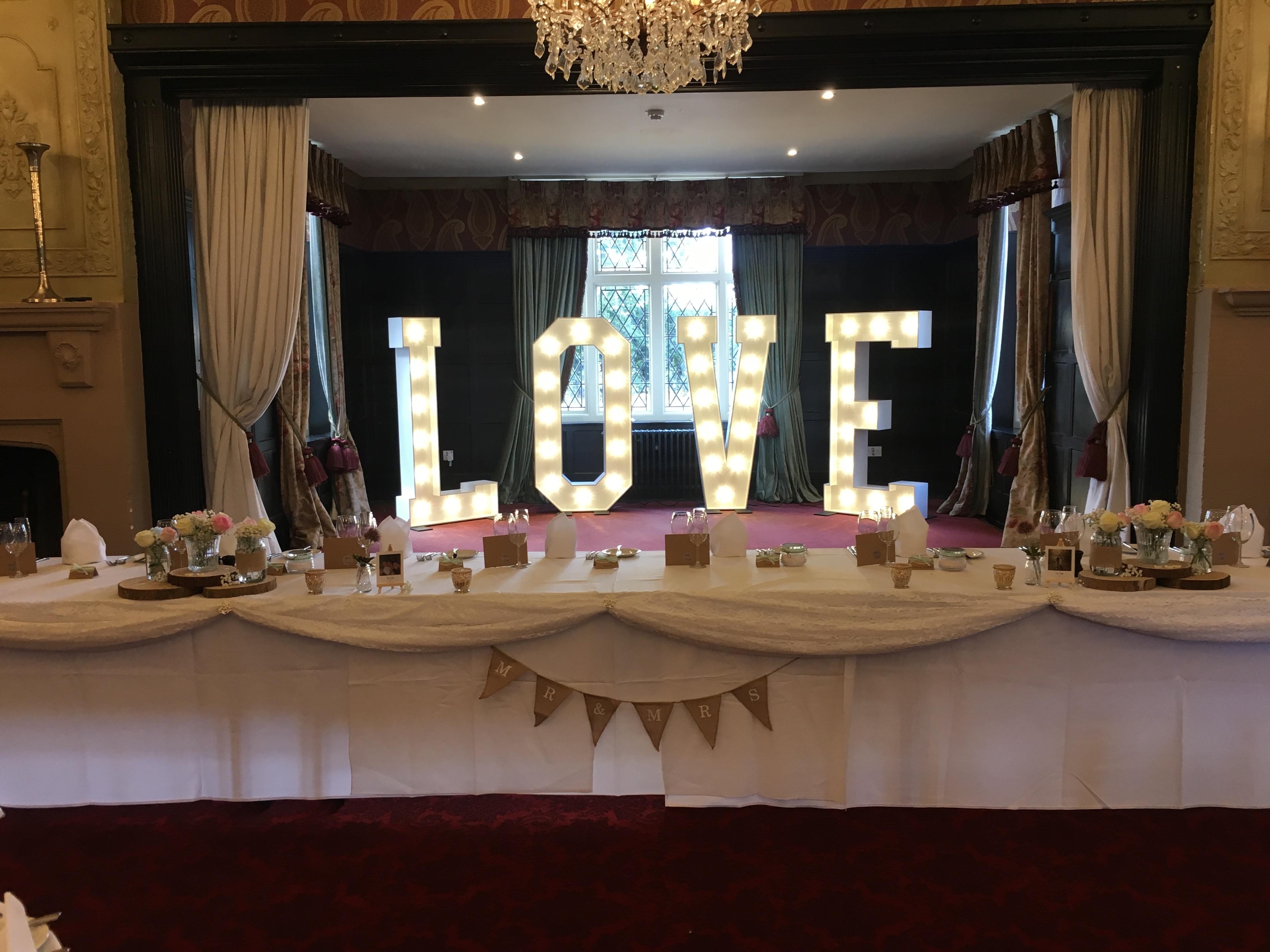 LOVE - Ye olde Bell Sophia's Final Touch - Venue Styling - Weddings