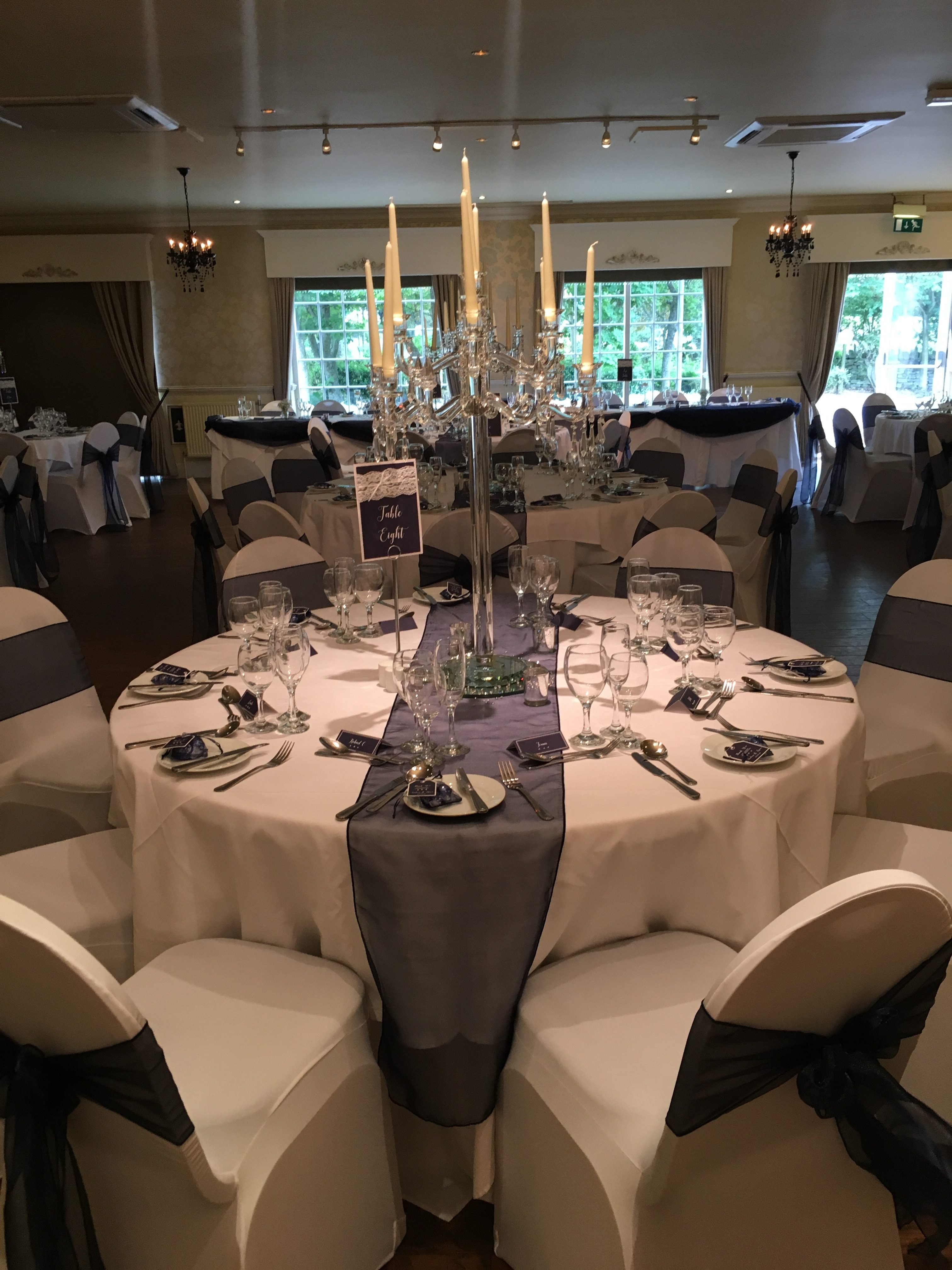 Large Crystal Candelabra, navy - Thornhurst Manor Sophia's Final Touch - Venue Styling - Weddings
