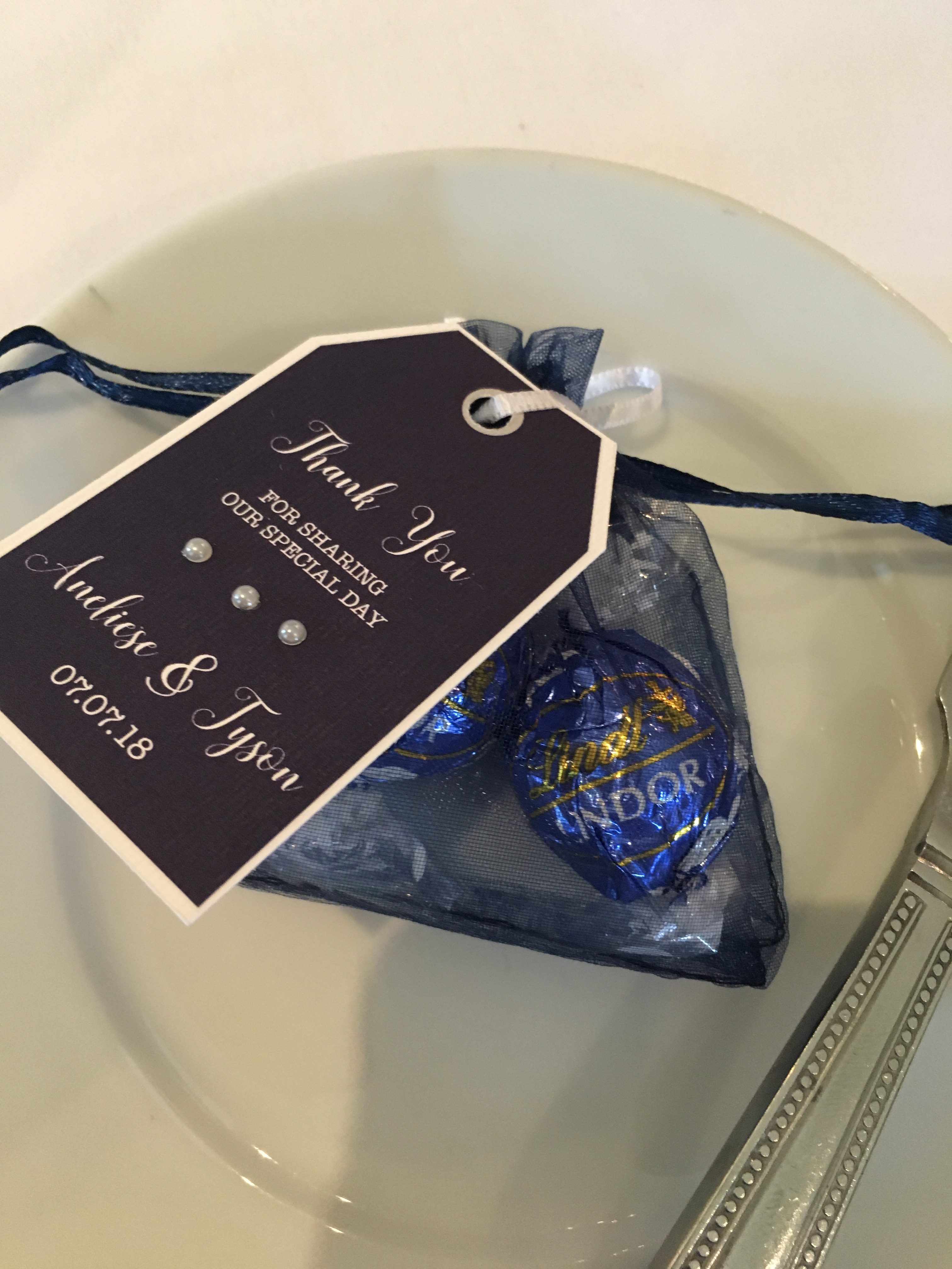 Navy Embellished Favour Tags- Lindt Choc Favours - My Little Futures Sophia's Final Touch - Venue Styling - Weddings