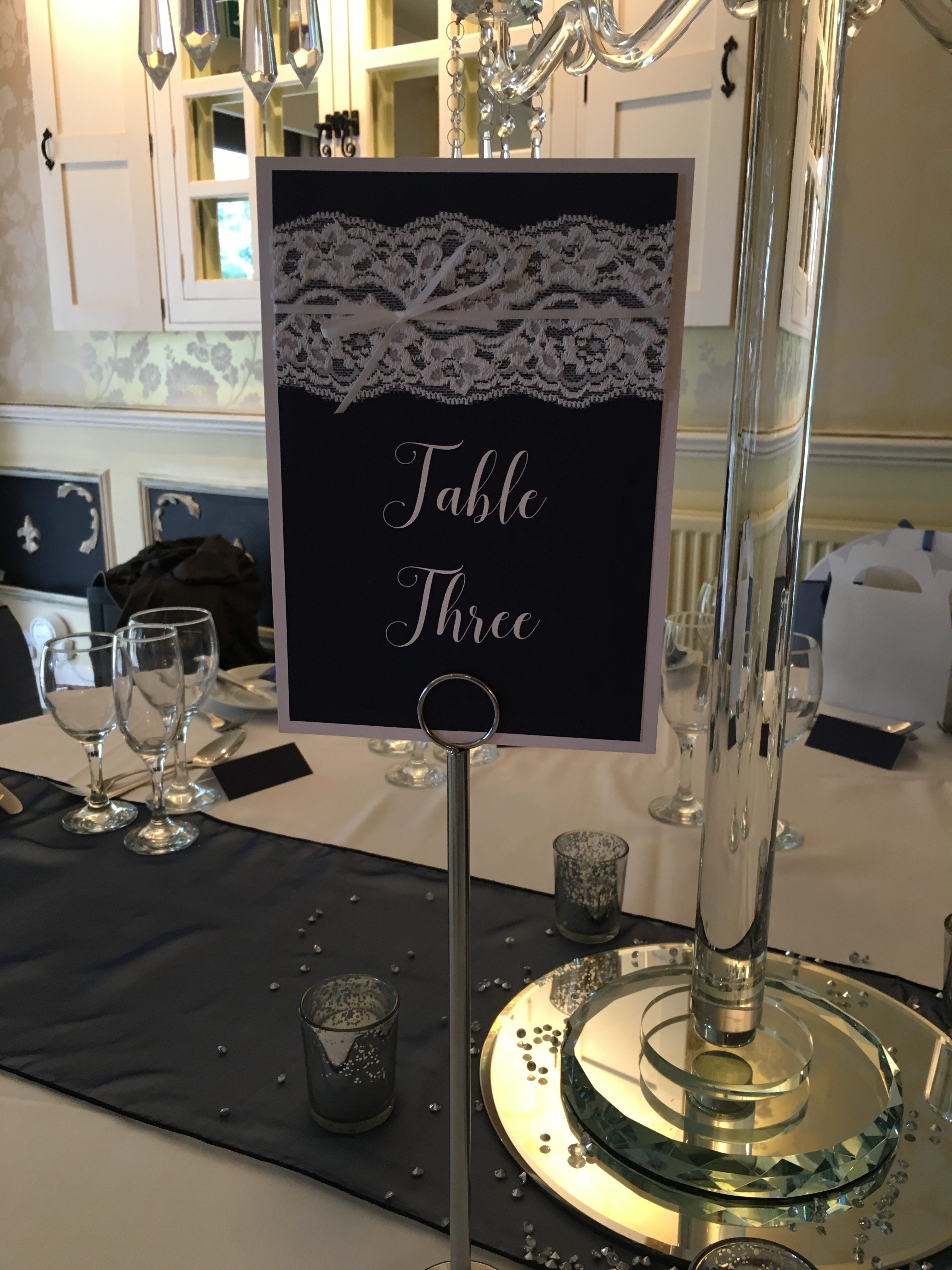 Navy Embellished Table Numbers - My Little Futures Sophia's Final Touch - Venue Styling - Weddings