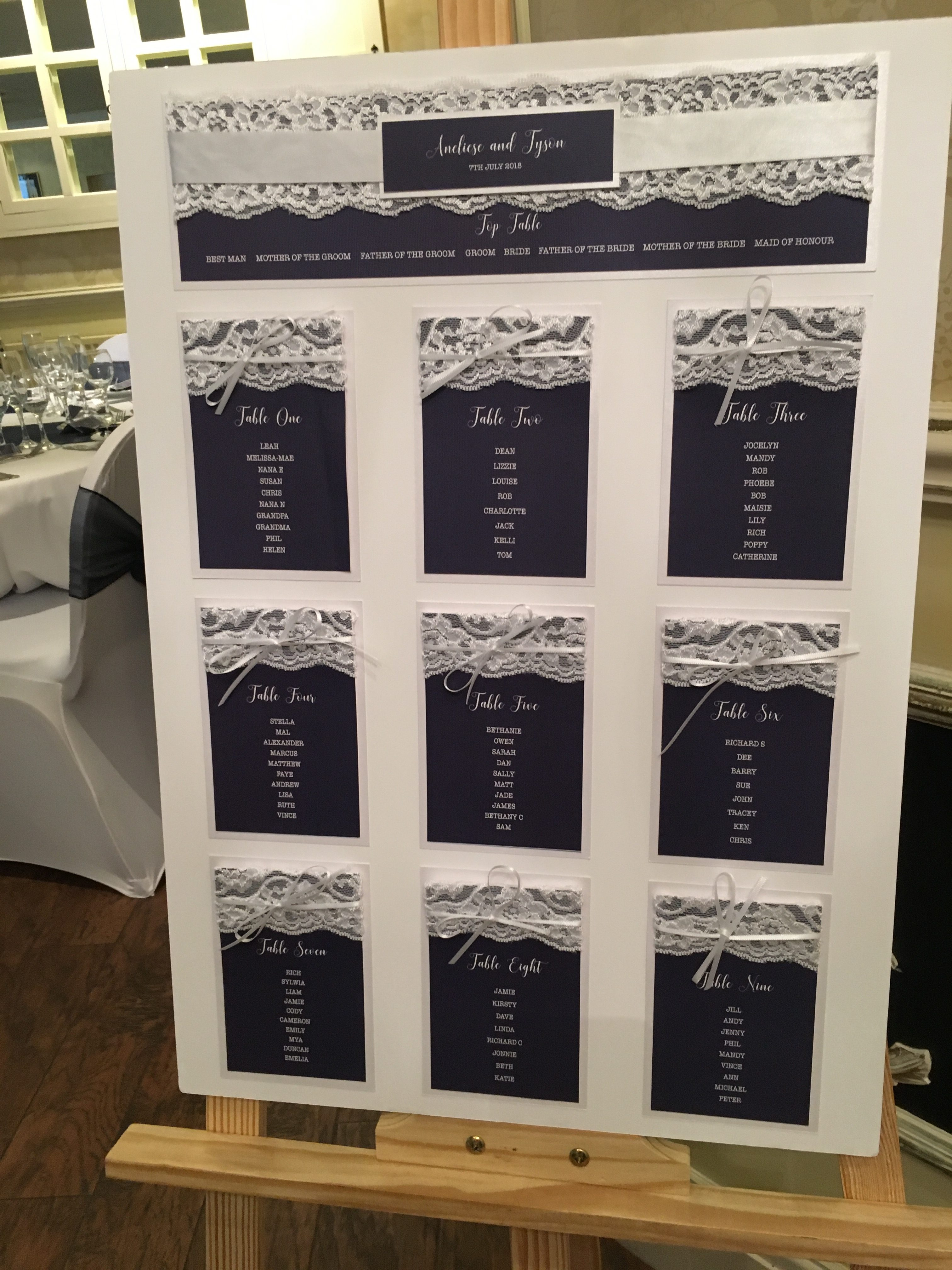 Navy Embellished Table Plan - My Little Futures Sophia's Final Touch - Venue Styling - Weddings