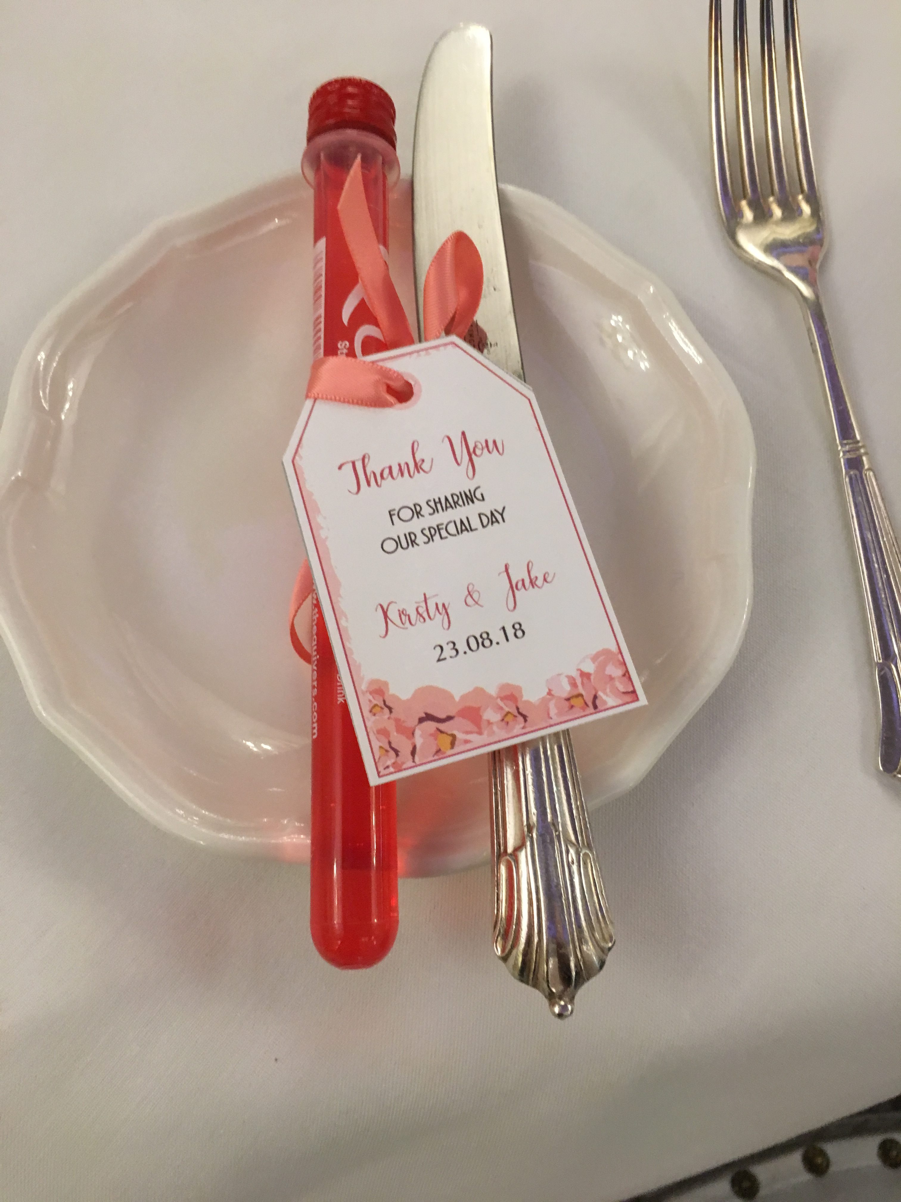 Pink Shots -Pink Favour Tag - My Little Future Sophia's Final Touch - Venue Styling - Weddings