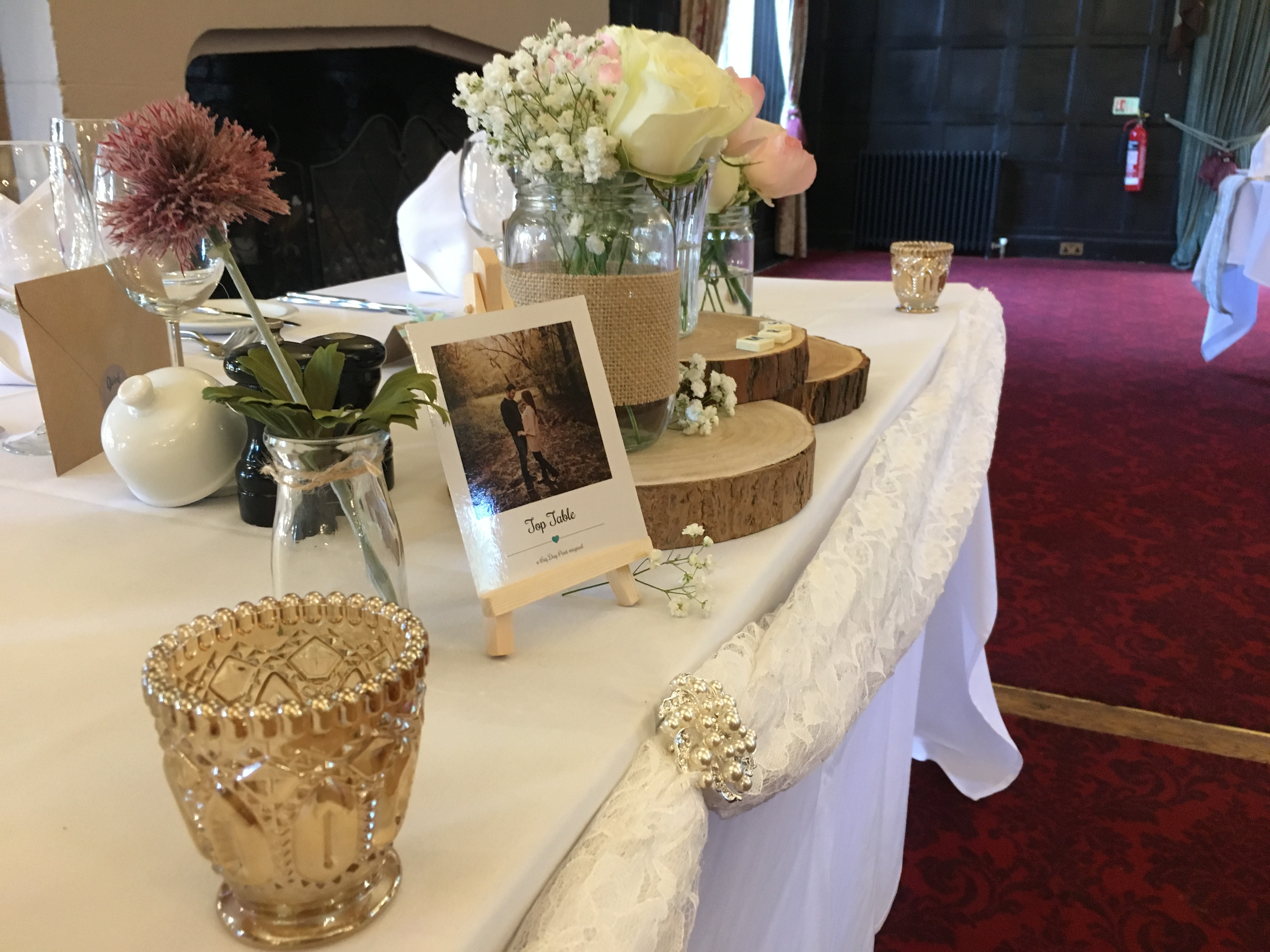 Rustic Logs Top Table with Lace Swag Sophia's Final Touch - Venue Styling - Weddings