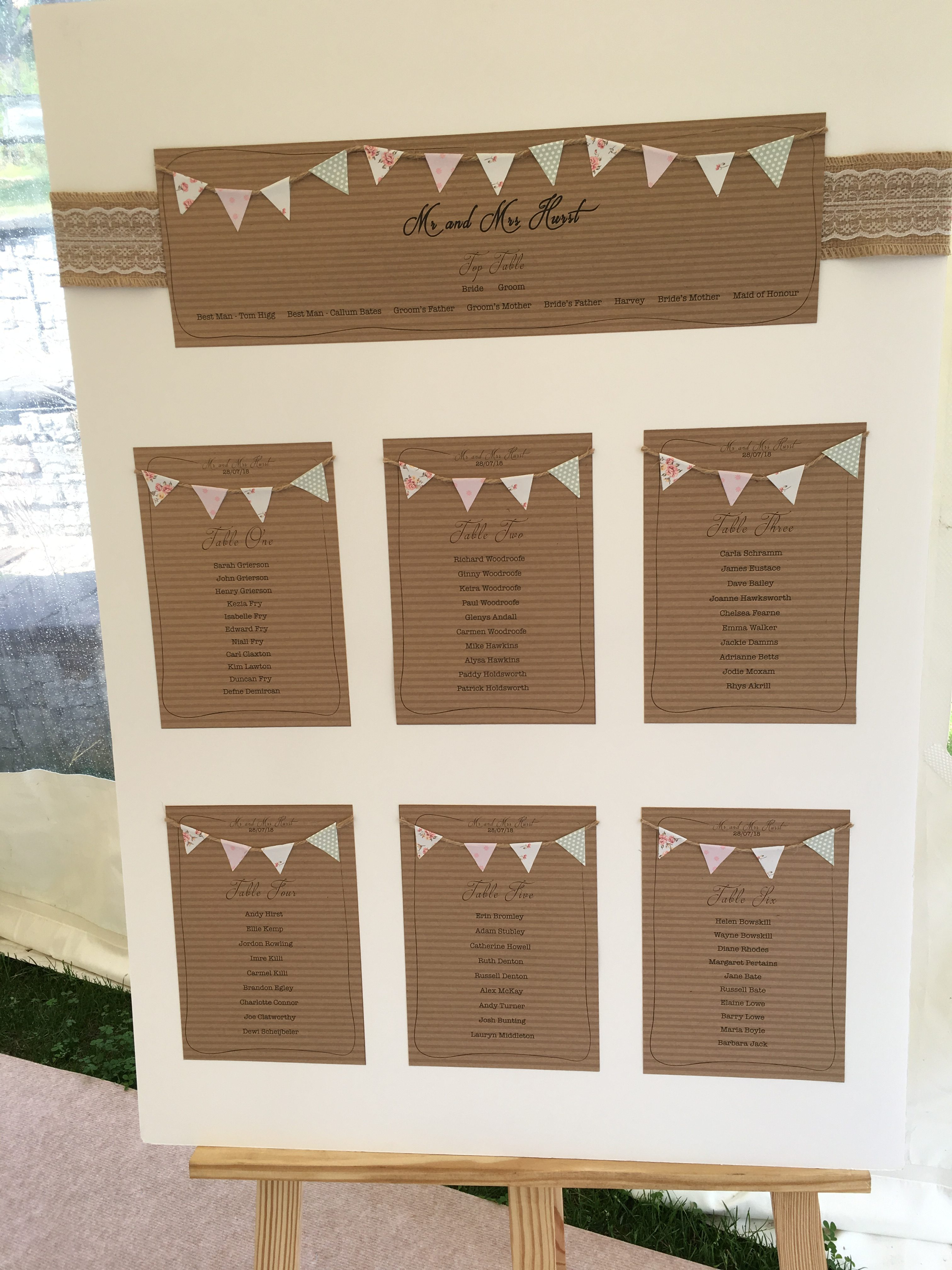 Rustic Table Plan - My Little Futures Sophia's Final Touch - Venue Styling - Weddings