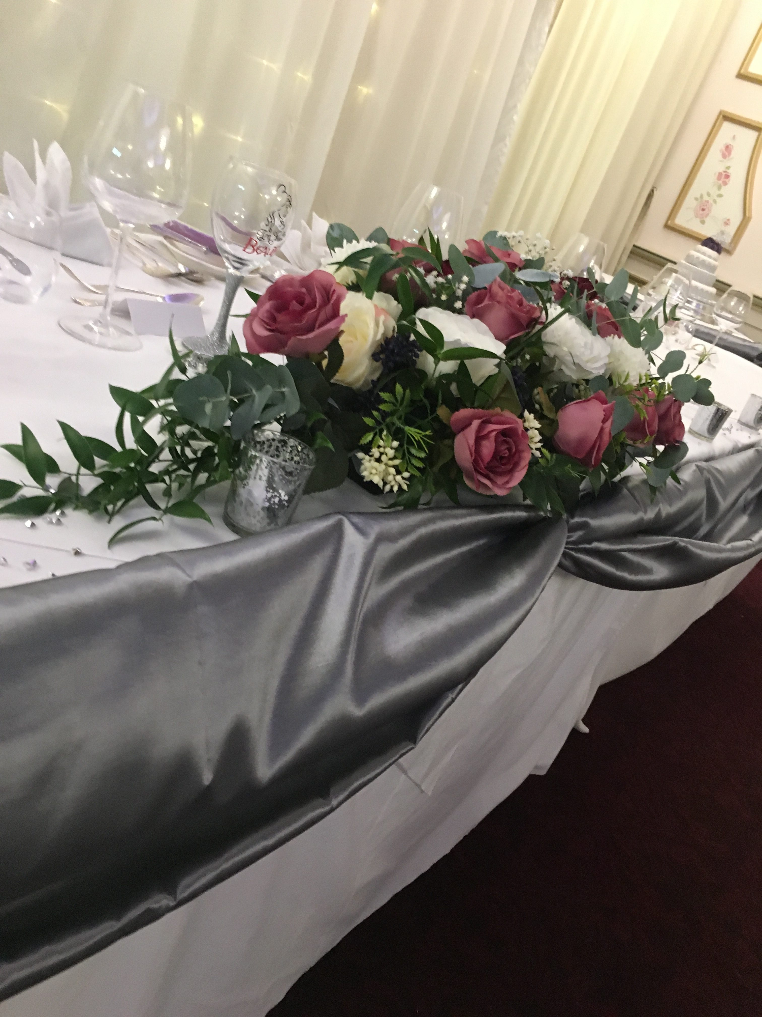 Silver Satin Top table Swag Sophia's Final Touch - Venue Styling - Weddings