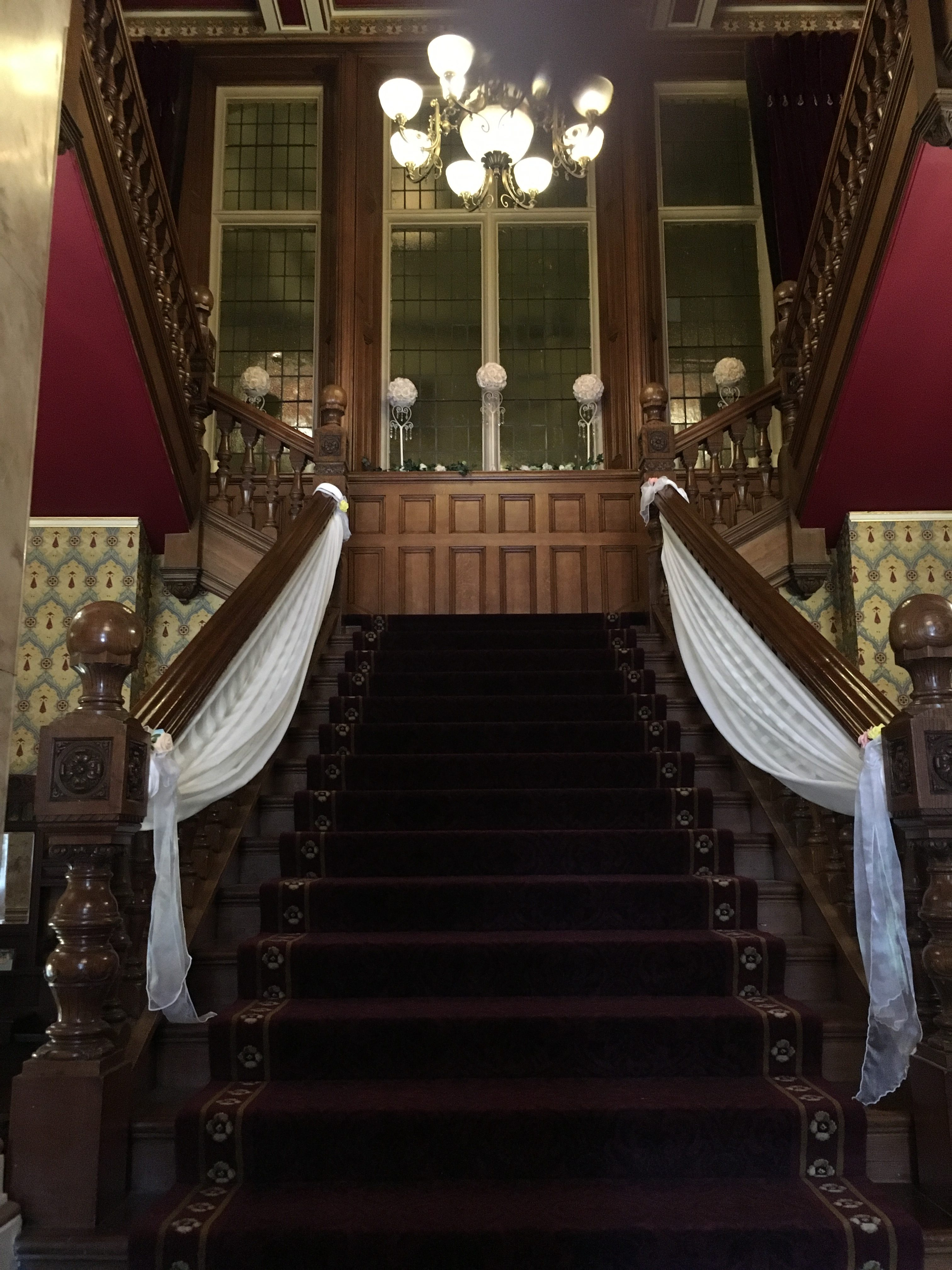Stair case swag - Rossington Hall Sophia's Final Touch - Venue Styling - Weddings
