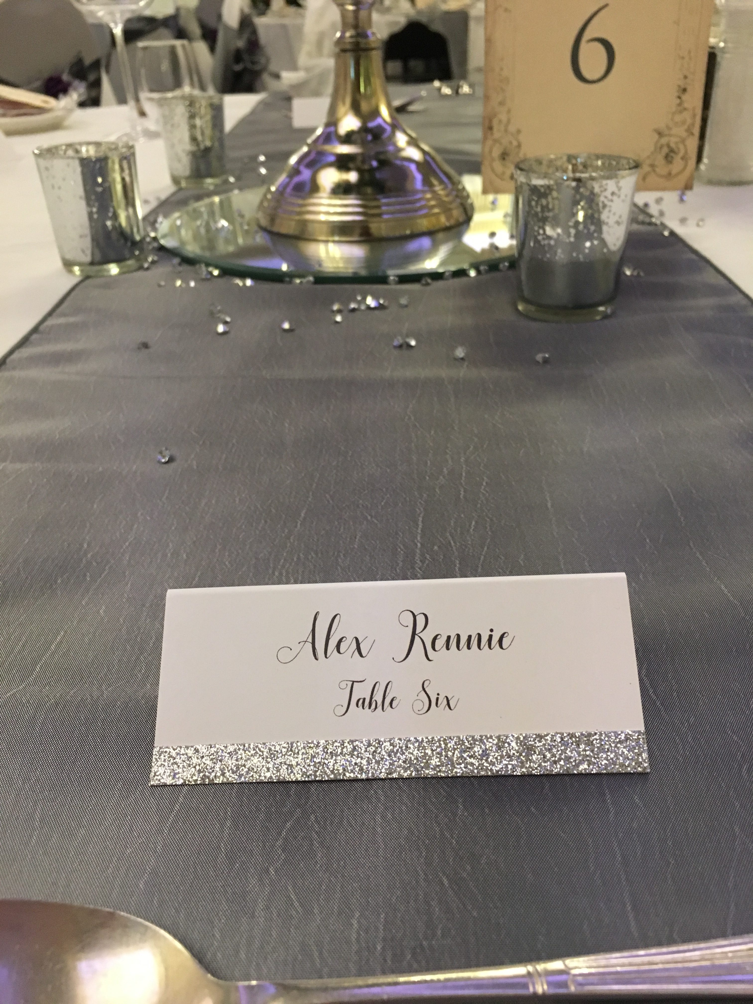 White with Glitter Place cards Sophia's Final Touch - Venue Styling - Weddings