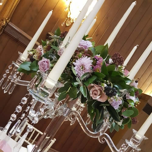 Crystal Candelabra with Fresh Flower Reef Top - Sophia's Final Touch - Venue Styling - Weddings