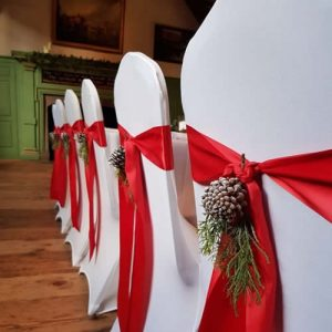 Christmas Red Satin Ribbon Sash, With Winter Cones Decor - Sophia's Final Touch - Venue Styling - Weddings & Event Decoration
