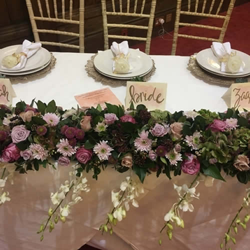 Fresh Floral Top Table Piece -  - Sophia's Final Touch - Venue Styling - Weddings & Event Decoration